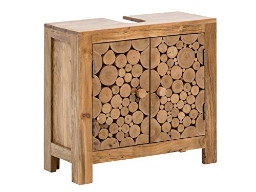 Woodkings® Waschbeckenunterschrank Holz Akazie rustikal Katha Waschtischunterschrank massiv Badmöbel Baumscheiben Badezimmer Badezimmerschrank Badschrank Bad Unterschrank Massivholz