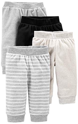 Simple Joys by Carter's Baby - Pantalones de forro polar (4 unidades) ,Light Grey/Dark Grey/Grey Stripes/Black ,6-9 Months