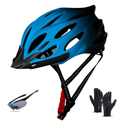 Bicycle Helmet, Road/Mountain Riding Helmet with LED Light Goggles And Gloves Visor MTB Cycle Helmet Adjustable Size for Unisex Men Women 22-24In,A