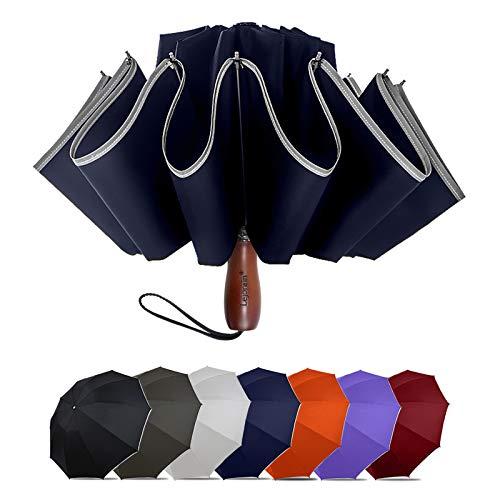 Lejorain Large Reverse Umbrella -50 Inch Windproof Inverted Umbrella - Automatic Folding Umbrella with Safety Reflective Strip(Blue)