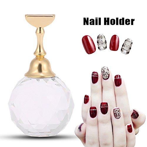 Nagel-Spitze-Anzeige, magnetische Nagel-Spitze-Praxis-Stand-Basis-Legierungs-Halter-Nagel-Kunst-Ausstellungsstand-Salon DIY Maniküre(# 2 weißer kugelförmiger Kristall)