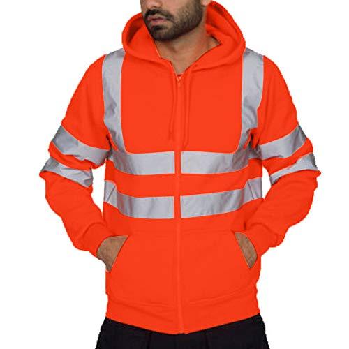 Balock Herren Sicherheitsjacke Lässige Patchwork Sweatshirt Hohe Sichtbarkeit Reflektierende Arbeitskleidung Sicherheit Kleidung Licht Kapuzenjacke Langarm Kapuzenpulli Arbeitskleidung (Orange, M)