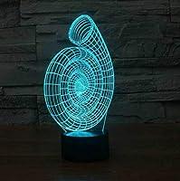 3DUSBベビーベッドサイド照明7色変更装飾カタツムリシェルモデリングナイトライトLEDコイル形状デスクランプキッズギフト