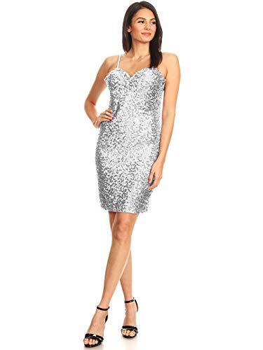 Anna-Kaci - Vestido para mujer de los años 20, con lentejuelas ajustables, sin mangas, sin hombros, para fiestas plata S