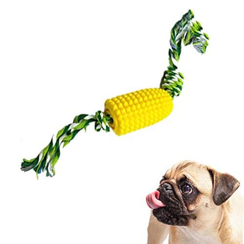 Feixiangge Hundezahnbürste, Hundezahnbürste, künstlicher Maiskolben, Molarstab, Hundespielzeug, Kauspielzeug mit Seilreinigungszähnen, 1 Stück