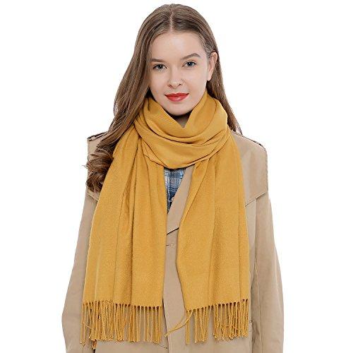 DonDon Damen Schal einfarbig weich 185 x 65 cm gelb