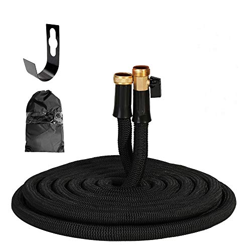 Hongmai Garden Hose100FT Black, Anti-Burst Double Latex Core, Upgraded Solid Brass, On/Off Valve, Heavy-Duty Outer Fabric, Leaking-Proof Design Water Hose Random Storage Bag or Hanger