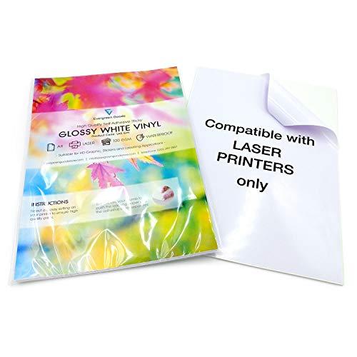 100 fogli adesivi in vinile autoadesivi A4, stampabili laser (non adatti per stampanti a getto d'inchiostro) impermeabili (PVC) di qualità