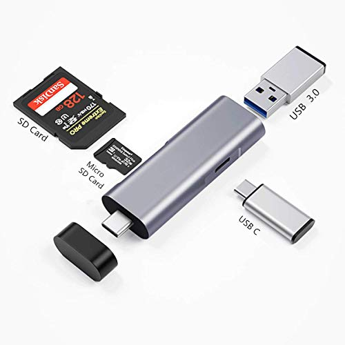 USB 3.0 Lettore di Schede SD/Micro SD(TF), Adattatore SD/ Micro SD /USB C /USB 3.0/ OTG in Allumino, Type C Card Reader Compatibile with iPad PRO 2020/2018, MacBook, Galaxy S20, Huawei P40, Mate 30