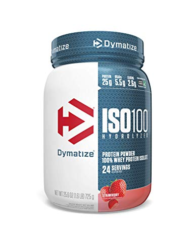 Dymatize ISO 100 Whey Protein Powder with 25g of Hydrolyzed 100% Whey Isolate, Gluten Free, Fast Digesting, Strawberry, 1.6 Pound