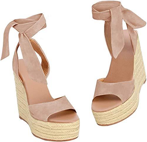 Fashare Womens Open Toe Tie Lace Up Espadrille Platform Wedges Sandals Ankle Strap Slingback Dress Shoes