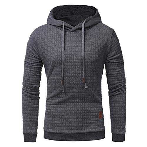 Men's Hoodies Mens Casual Ribbing Long Sleeve Hoodie Autumn Winter Warm Slim Fit Pullover Classic Solid Color Hooded Sweatshirt Tops Comfy for Jogging Work Out XL