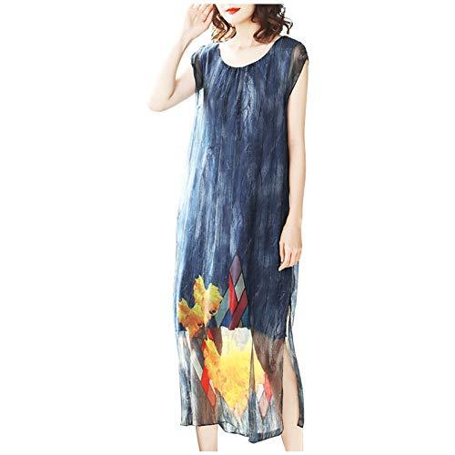 BINGQZ Kleid Seidenkleid Frau Sommer Neue Damen Damen Temperament Mode war dünn im Langen Abschnitt gedruckt Rock