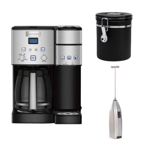 Cuisinart Coffee Center SS-15 12-Cup Coffeemaker and Brewer with Coffee Canister and Handheld Milk Frother Bundle (3 Items)