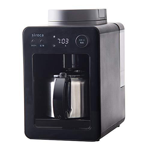 シロカ 全自動コーヒーメーカー カフェばこ SC-A371 ブラック [静音/ミル4段階/コンパクト/豆・粉両対応/蒸らし/ステンレスサーバー]