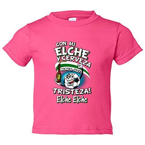 Camiseta niño frase con mi Elche y cerveza nunca hay tristeza fútbol - Rosa, 12-14 años