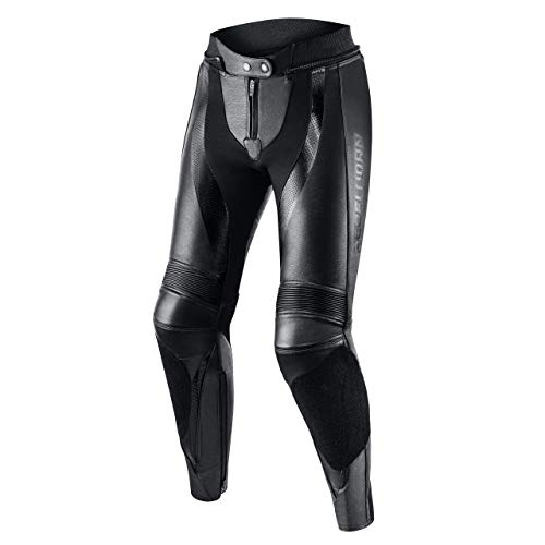 REBELHORN Rebel Lady Leder Motorradhose für Frauen Knie und Hüftprotektoren Kevlar Verstärkungen Belüftung Elastische Paneele