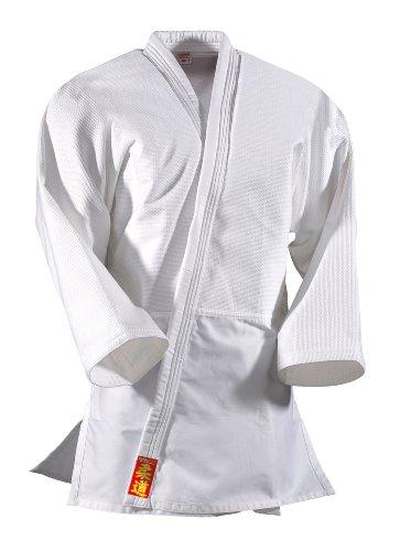DanRho, Judogi Bambino Yamanashi mit Schulterstreifen, Bianco (Weiß), 120 cm