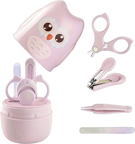 Kit de uñas 4 en 1 para bebé, juegos de cuidado de uñas con estuche en forma de búho, tijeras de uñas para bebés lima de uñas de cristal y pinzas, kit de manicura y pedicura para recién nacido (rosa)