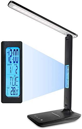 ERAY Lámpara Escritorio LED, Lámpara de Mesa Regulable, 5 Niveles de Brillo y 3 Modos/LCD Pantalla/Reloj/Temperatura/Calendario/Soporte para Teléfono/Cuidado de Ojos/Control Táctil (Negro)