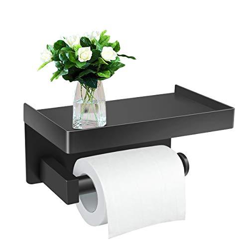 Toilettenpapierhalter Ohne Bohren mit Ablage Klopapierhalter Selbstklebend Edelstahl SUS304 Papierhalter WC Rollenhalter Wandmontage Papier Halterung für Küche und Badzimmer Schwarz