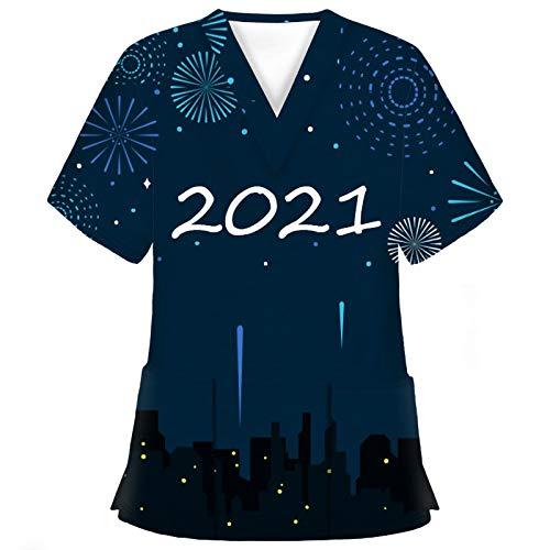 Nurse Kurzarm Tops Damen 2021 Neujahr Karikatur Bedruckt Krankenpflege Uniform Sommer V-Ausschnitt Pflege T-Shirt mit Doppelt Taschen Schlupfkasack Arbeitskleidung Berufskleidung Krankenhauskleidung