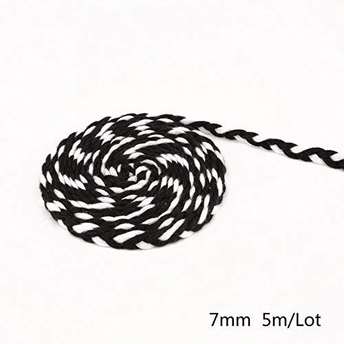 AOM 5 mètres de Longueur 7 mm Cordes de Polyester colorées Corde tressée Bricolage Noir Blanc épais Corde décorative Ficelle boîte-Cadeau décor Artisanat, Couleur 10
