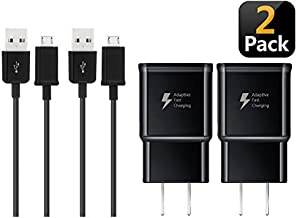BACE Adaptive Fast Wall Charger Compatible with Samsung Galaxy S7 / S7 Edge / S6 / S6 Edge and LG G2 / G3 / G4 [2 Pack (Wall Chargers Adapter and Micro USB Cables)] (Black)