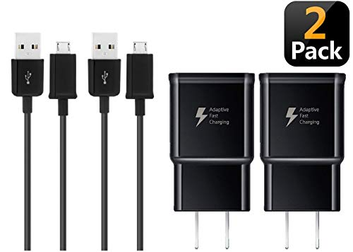 Adaptive Fast Wall Charger Compatible with Samsung Galaxy S7 / S7 Edge / S6 / S6 Edge and LG G2 / G3 / G4 [2 Pack (Wall Chargers Adapter and Micro USB Cables)] (Black)