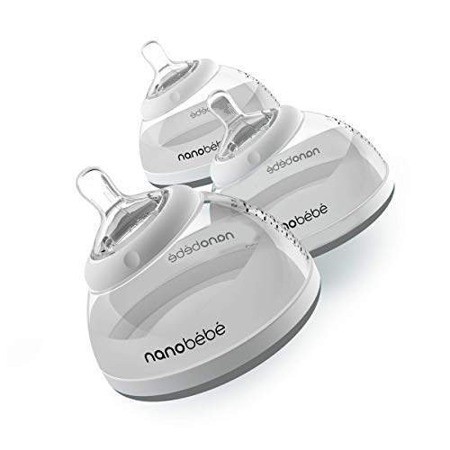 Nanobebe Stage 2 Transition Baby Bottle, Easy to Clean, instinctual & Comfortable, 3-Pack, Grey