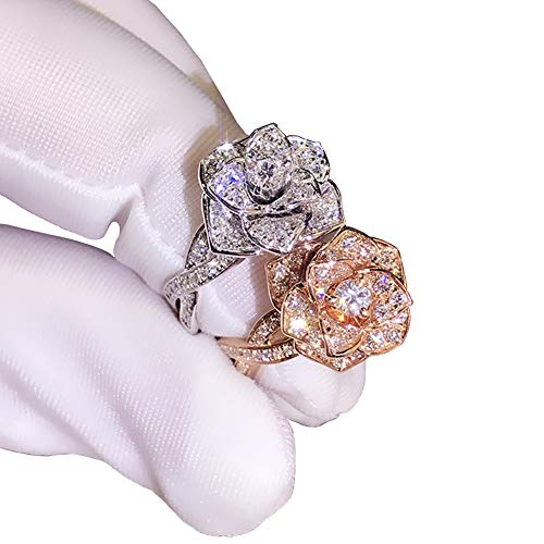 JESMING 3D Rose Ring CZ Simulated Diamond Ring Rose Gold Ring Rose Flower Ring for Women (Silver, 7)