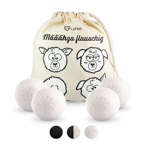 LoFelt® Trocknerbälle für Wäschetrockner - Dryer Balls - Natürlicher Weichspüler - Plastikfreie Produkte - 100{65d278329f5387bebb2317bd1421db799d51e810587290a3aececb6ac5cc3227} Schafswolle - 4 Stück in weiß