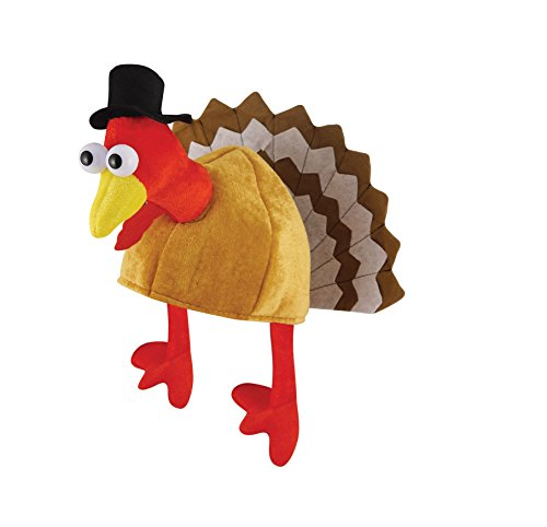 Novelty Xmas Turkey Thanksgiving Hat With Head, Legs And Tail Fancy Dress Accessory