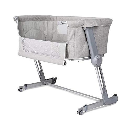 WJMLS Cuna del bebé, Cuna portátil Incluye Bolsa de Viaje, de 1,2' colchón Firme, Hoja Transpirable y 7 de Altura Ajustable, cómoda Cama de bebé con Ruedas