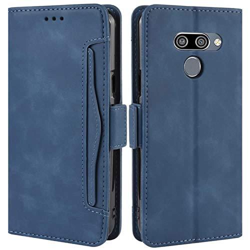 HualuBro Handyhülle für LG Q60 Hülle, LG K50 Hülle Leder, Flip Hülle Cover Stoßfest Klapphülle Handytasche Schutzhülle für LG Q60 / LG K50 Tasche (Blau)