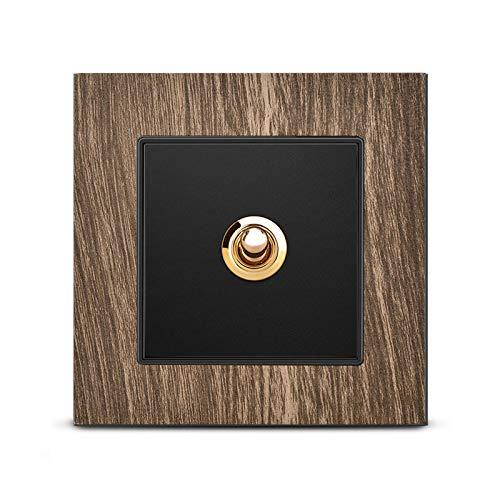 Ploutne Home Improvement Type 86 Wall Lamp Switch Switch 86 Type High-grade Retro Brass Lever One Open Single Control Five-hole Socket Panel Nordic Hotel1-4 Gang 2 Way Retro Wood Grain Color Panel Bra