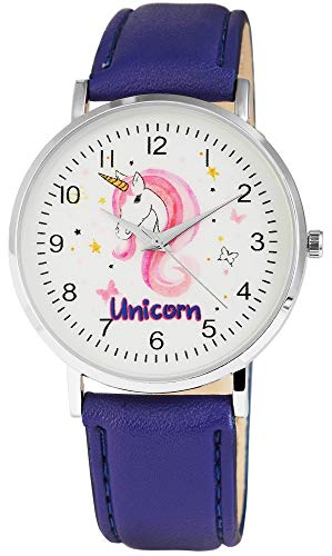 Excellanc llanc Mujer Reloj De Pulsera 40mm Unicornio Unicorn Acero Inoxidable Reloj de pulsera Blanco Morado