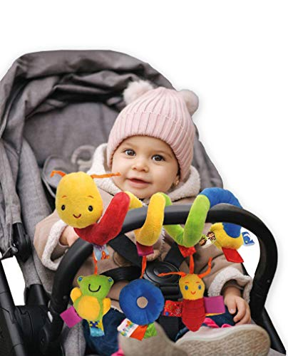 kidoola Spiral Baby Toy, Wrap-Around Hanging Buggy Pram Pushchair Stroller/Car Seat/ Cot, Sensory Velvet Play Toy Mobile with Squeaker, Rattle, Ringing Bell, Ideal for Travel Boys & Girls (3+ Months)
