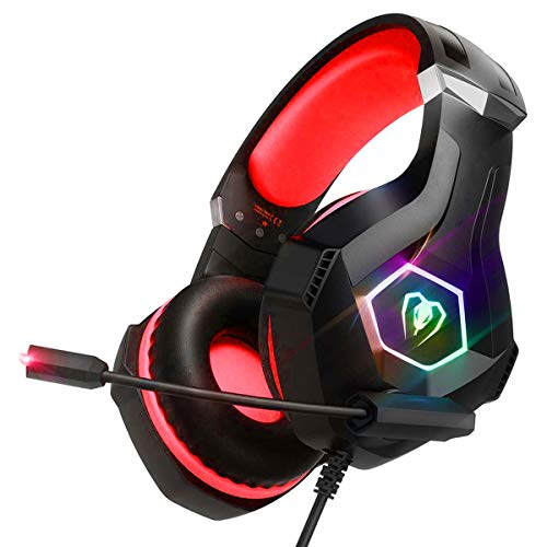 RGB LED Gaming Headset for PC, Xbox One, PS4, Ultralight Over-Ear Headphones with Noise Cancelling...