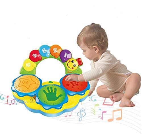ATCRINICT Baby Spielzeuge für 6 bis 12 Monate Tragbares Musikspielzeug für Babys Handtrommel Musikinstrument Spielzeug Frühpädagogisches Musik/Licht/lustige Töne Baby Spielzeug für 1 2 3 4 Jahre alt