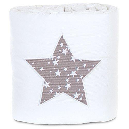 Protector de cuna de colecho piqué, adecuado para el modelo Original, blanco aplicación estrella taupe estrellas blancas