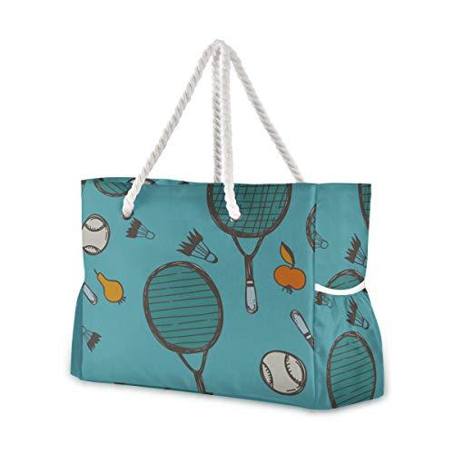 Beach Zipper Bag Raqueta de bádminton y raqueta de tenis Bolsa de viaje con cremallera y bolsa de viaje con cremallera 20.5 X 7.3 X 15 pulgadas Cierre de cremallera con mango de algodón para picnics