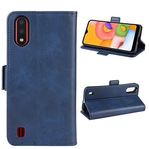 BEIJING  PROTECTIVECOVER+ / para Galaxy A01 Doble Hebilla Crazy Horse Business Phone Webster Funda con la función de Soporte de la Cartera, Fashion Phone Funda para Protector (Color : Azul)