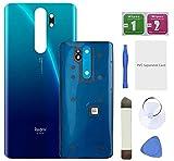 Eonpam Tapa batería Vidrio Trasera Reemplazo para (Xiaomi Redmi Note 8 Pro) Kit reparación Original Cristal Trasero (Azul)