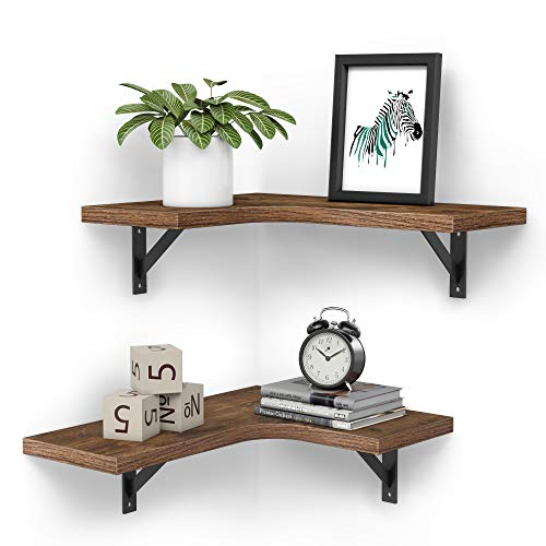 Homemaxs Corner Shelf Wall Mount of 2 Tier - Wood Rustic Corner Floating Shelves for Bedroom...