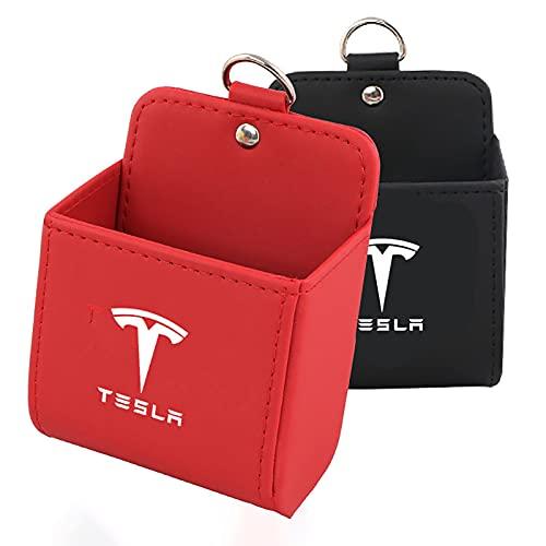 SUKLIER Salida De Aire AutomáTica Bolsillo para TeléFono MóVil Gafas De Sol Caja De Almacenamiento MisceláNeas Colgantes Bolsa De Cuero para Tesla Modelo 3 Y X S Accesorios para AutomóVil