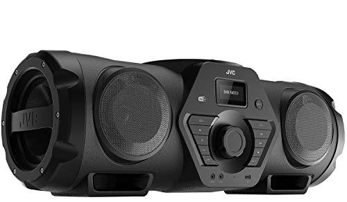 JVC Boomblaster RV-NB300DABBP, 2 x 30 Watt, DAB+, UKW, Bluetooth, CD, USB, Line-In, Gitarren- & Mikrofoneingang, Fernbedienung, inkl. Akku