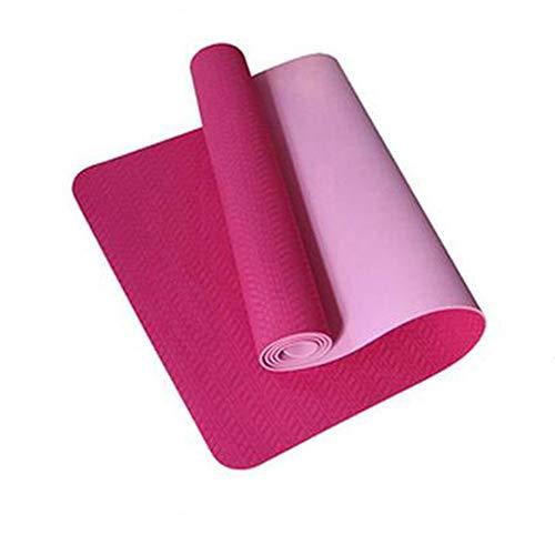 6mm Yoga Matte 183 * 61 cm No-Slip TPE Sports Gym Matte Fitness Esterirla Pilates Gymnastik Camping Colchonete Pad mit Tasche Bandage,Rot