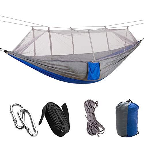 Camping/Garten Hängematte mit Moskitonetz Gartenmöbel 1-2 Person Tragbare Hängende Bett Stärke Fallschirm Stoff Schlaf Schwingen (Color : Grey Blue)