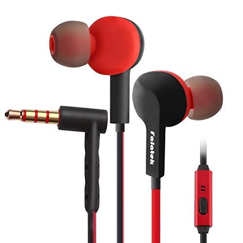 Noise Isolating and High Definition in Ear Canal, FALATEK Thalia Headphones Earbuds with Powerful Bass. Tangle Free for iPhone, iPod, iPad, MP3 Players, Samsung, LG with Mic (Black & Red)